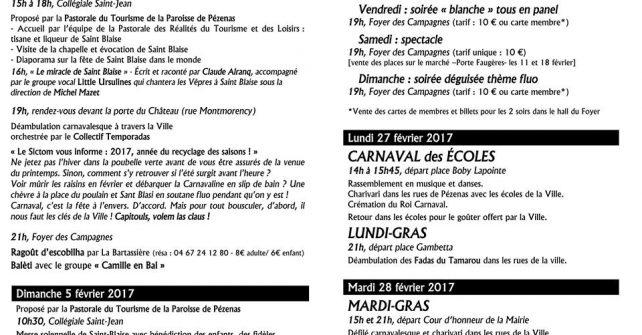Programme détaillé de la Saint Blaise à Carnaval de Pézenas 2017